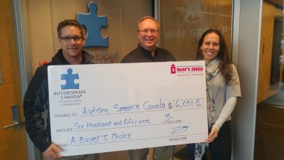 Autism Speaks Canada Cheque Presentation